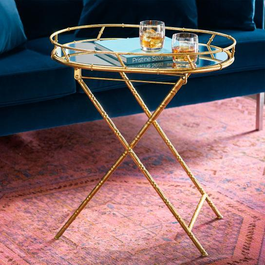 Gold Oval X Bamboo Base Tray Table