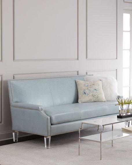 Light Blue Leather Lucite Legs Sofa
