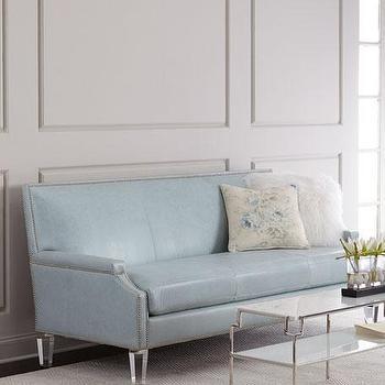 Merveilleux Light Blue Leather Lucite Legs Sofa
