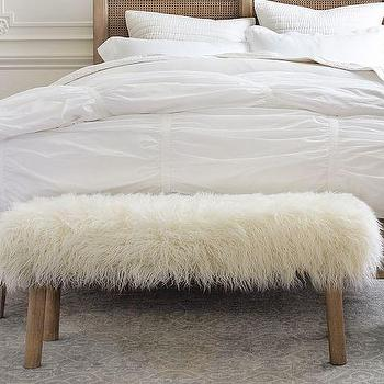 Luxe Fur Grey Bench