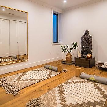 Floor to ceiling mirror contemporary basement milton for Living room yoga