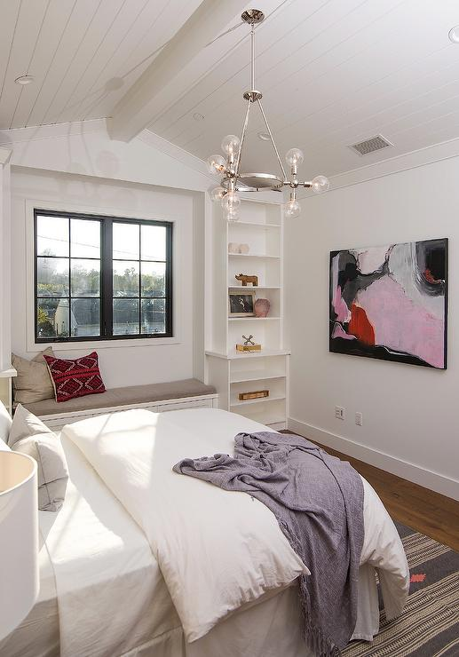 White Bedroom With Pink And Black Abstract Art