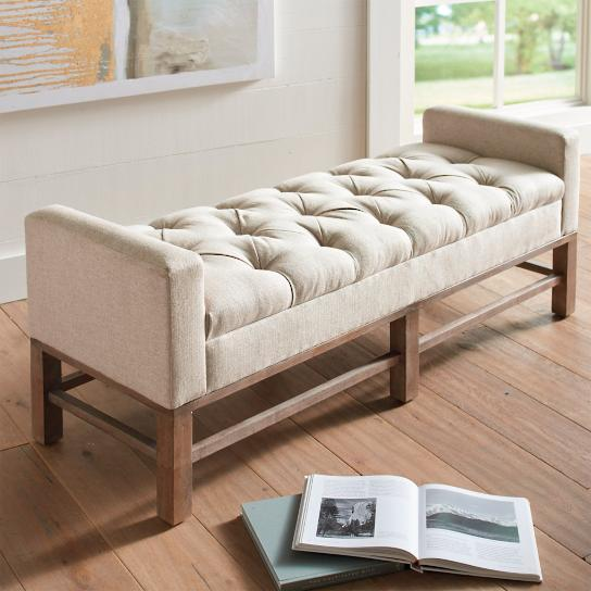 Superb Off White Tufted Weathered Brown Legs Bench View Full Size
