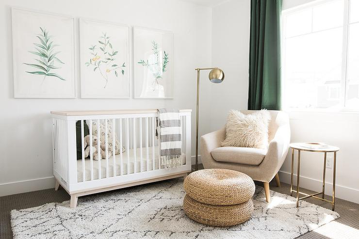 White And Green Nursery With Gold Accents Transitional Nursery