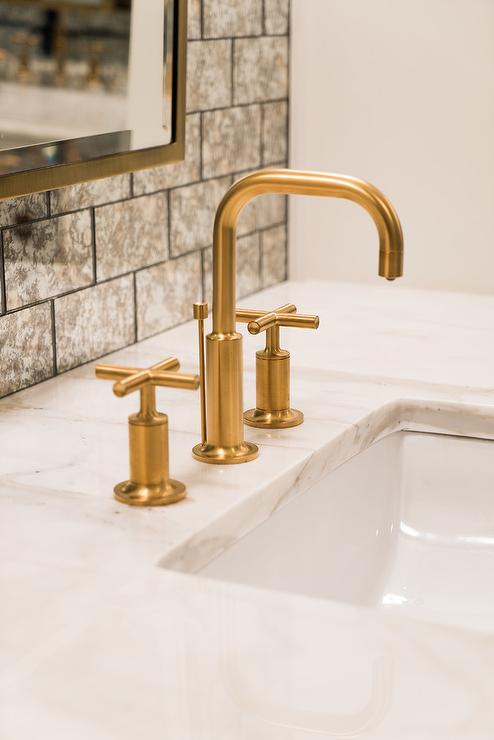 Antiqued Mirrored Vanity Backsplash - Antiqued Mirrored Vanity Backsplash - Transitional - Bathroom