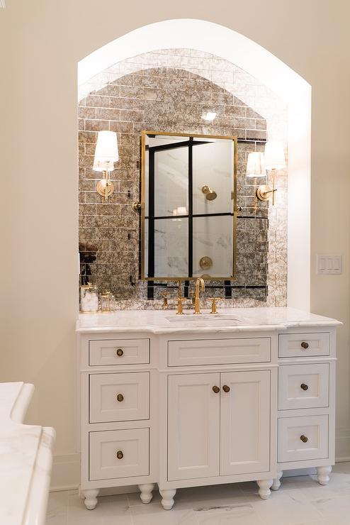 Arch Bath Vanity Nook With Antiqued Subway Tiles