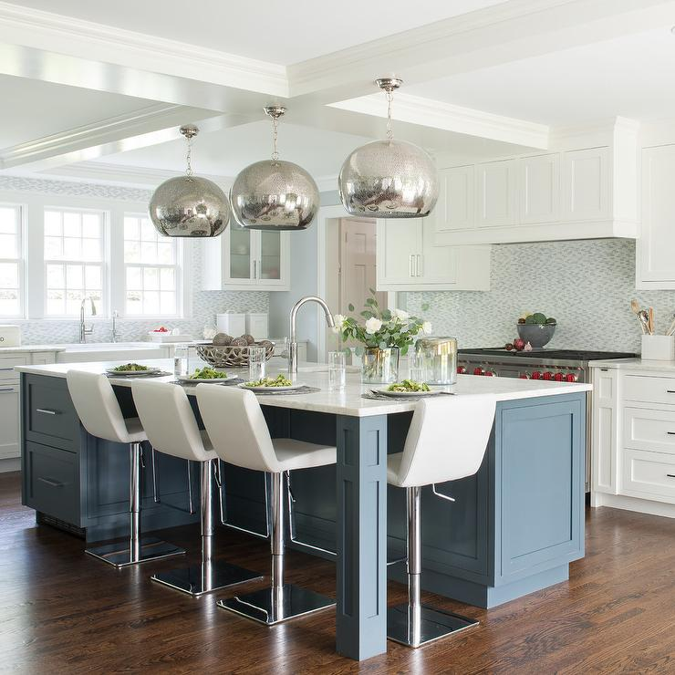Blue Kitchen Island with Mercury Glass Pendant Lights - Contemporary ...