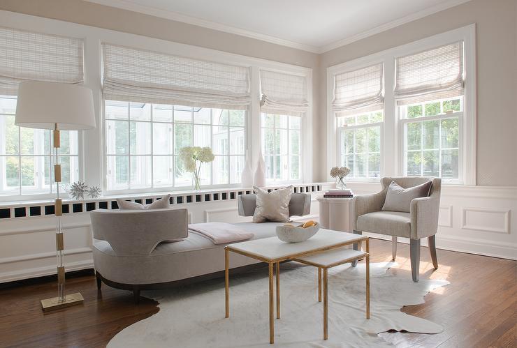 Living Room With Grey Tete A Tete Sofa Contemporary