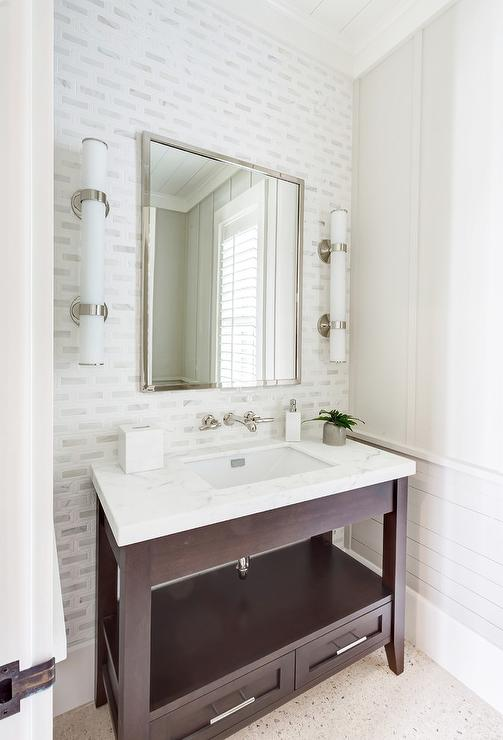 Dark Stained Sink Vanity With Shelf And Drawers Transitional