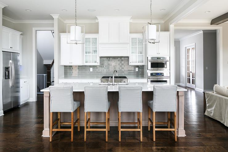 Gray Counter Stools  Transitional  Kitchen  Sherwin Williams Repose