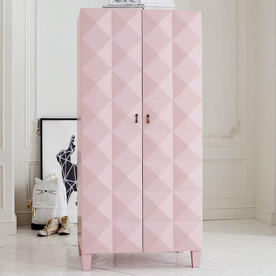 Faceted Pink Geometric Armoire