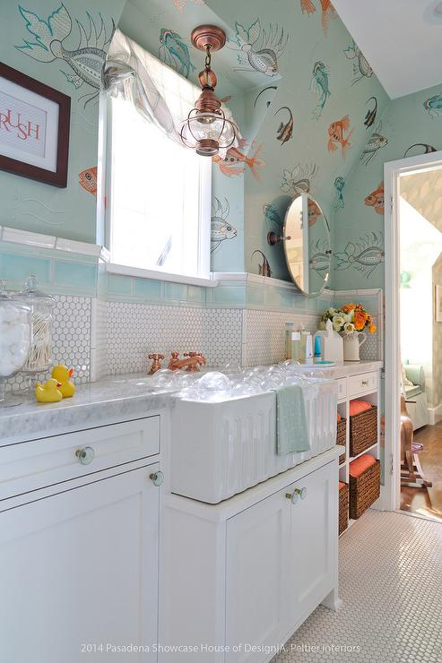 White and orange powder room with octopus oasis wallpaper for Fish themed bathroom