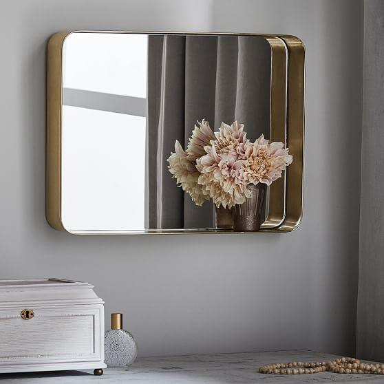 Brass Rounded Corners Inset Mirror