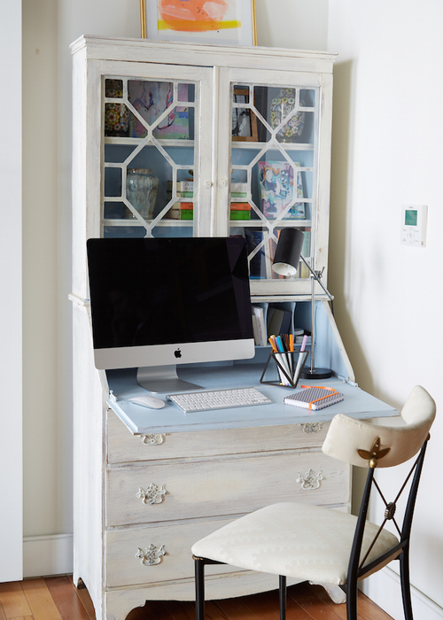 White French Secretary Desk With Interior Painted Blue