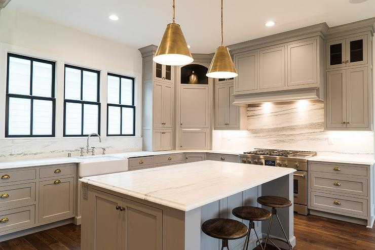 Gray Shaker Kitchen Cabinets With Polished Brass Cup Pulls