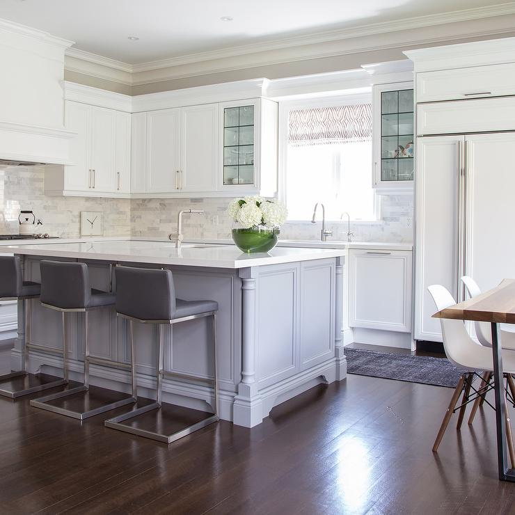 Bar Stools For White Kitchen: Island With Gray Leather Counter Stools With Nailhead Trim