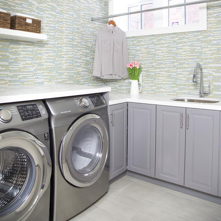 green and gray laundry room design contemporary