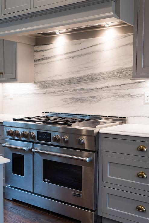 Jenn Air Stove with Arabescato Danby Marble - Transitional - Kitchen