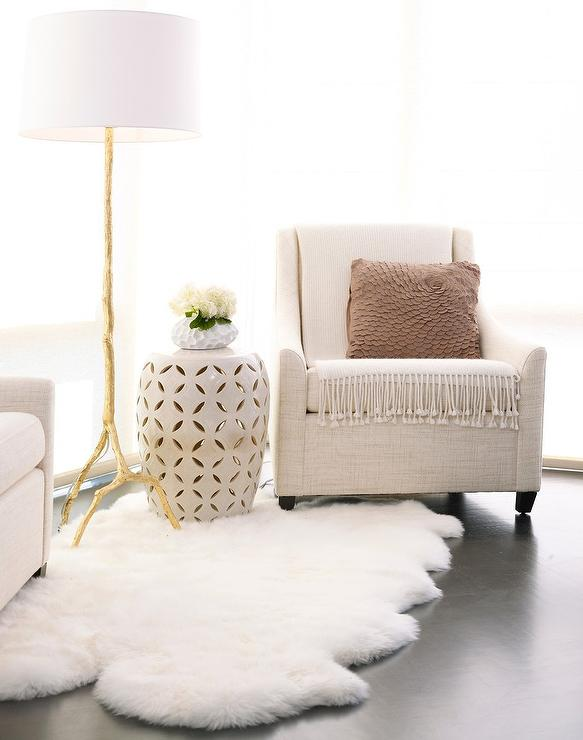 White And Gold Faux Bois Stool Ottoman Transitional