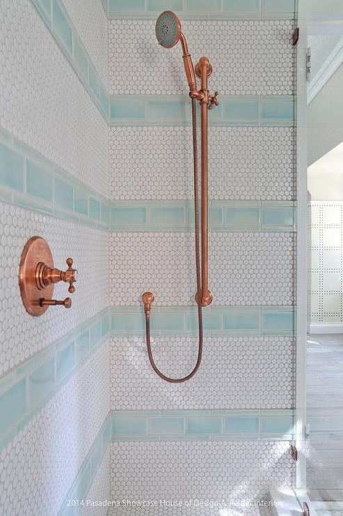 White And Blue Kids Shower With Copper Rain Shower Head