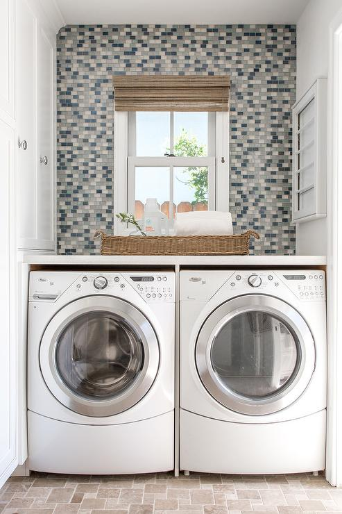 Laundry Room With Mini Travertine Floor Tiles Transitional Laundry Room
