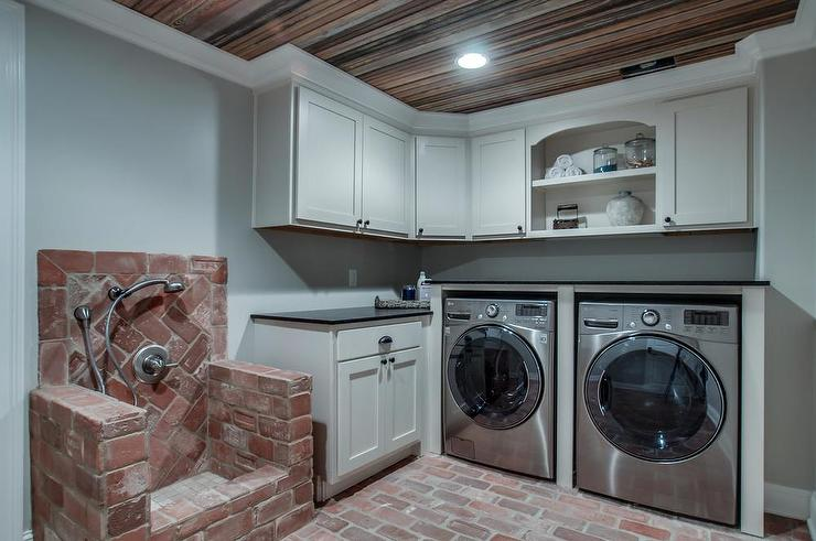 Laundry Room With Red Brick Dog Shower Transitional