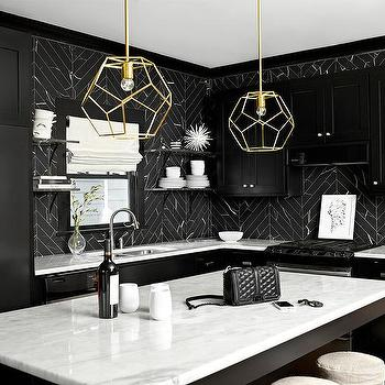White And Black Kitchen With Marble Herringbone Tiles