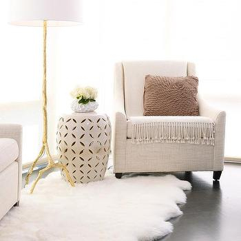 Ivory Linen Chair With Gold Leaf Faux Bois Lamp