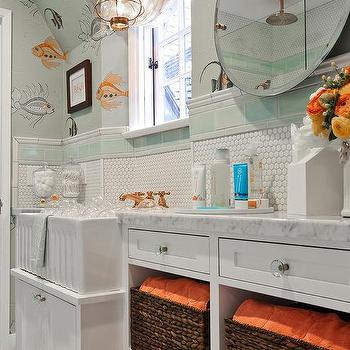 White and orange powder room with octopus oasis wallpaper for Blue and orange bathroom