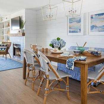 Brown And Blue Cottage Dining Room