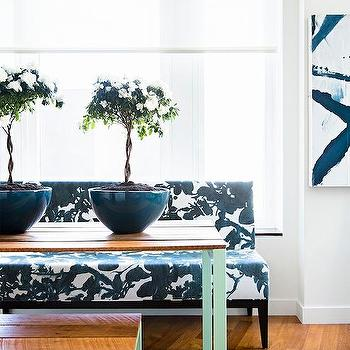 Black And White Dining Bench With Mint Green Table