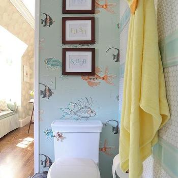 Ordinaire Blue Boys Bathroom With Fish Wallpaper