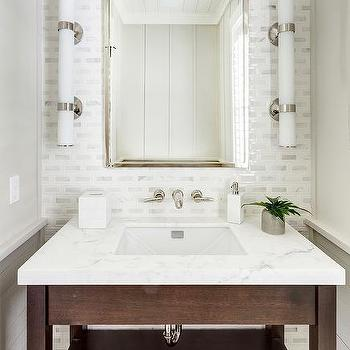 powder room wall tile designs. brown washstand with white and gray mosaic tiles view full size. chic powder room wall tile designs