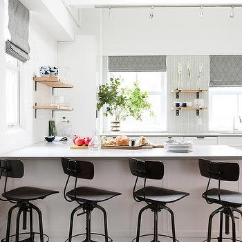 White And Gray KItchen With Track Lighting