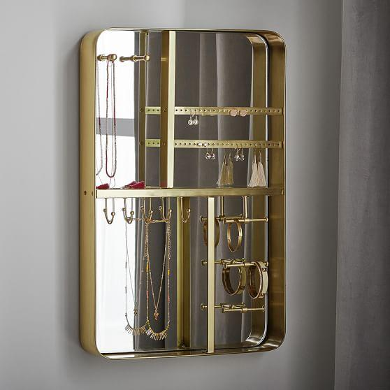 Decorative Wall Mirror Jewelry Organizer : Brass framed mirrored wall mount jewelry organizer