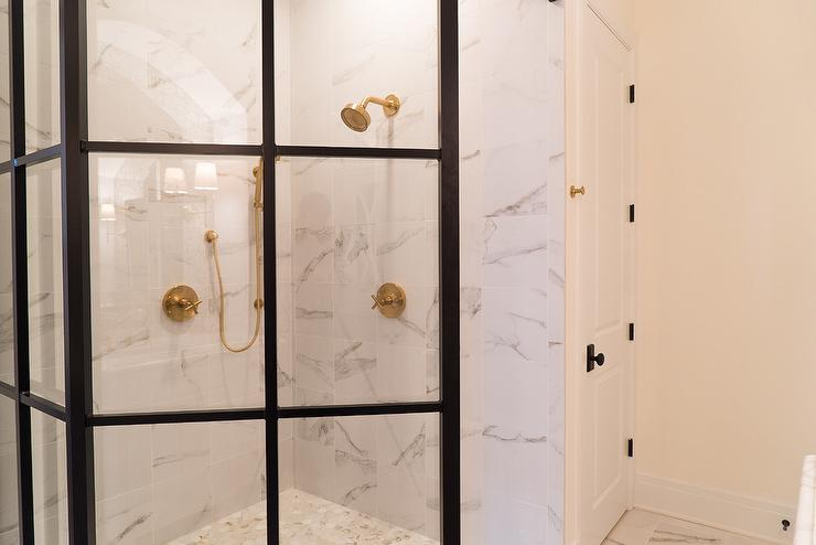 Marble Walk In Shower with Steel Enclosure - Transitional - Bathroom