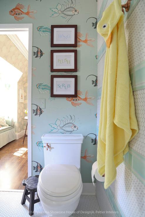 Blue Boys Bathroom With Fish Wallpaper