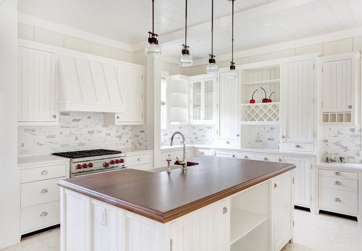Butcher Block Kitchen Island With Sink : Thick Butcher Block Island Countertop with Sink - Transitional - Kitchen - Benjamin Moore White Dove