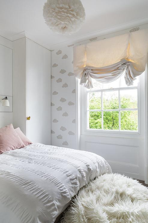 Beau White And Pink Girl Bedroom With White Feather Chandelier