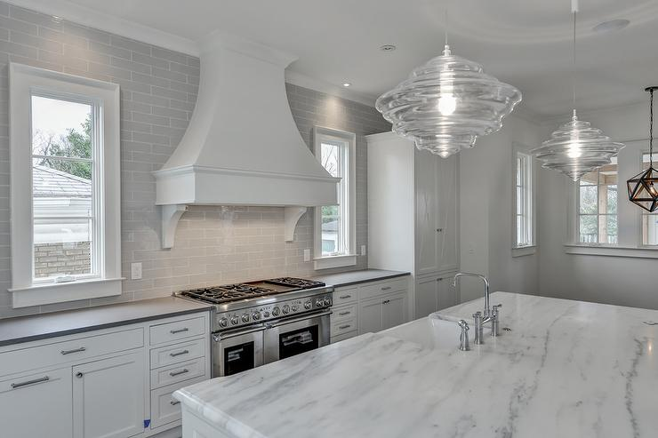 White And Gray Kitchen With Gray Brick Tiles Transitional Kitchen