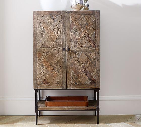 Delightful Salvaged Wood Woven Motif Brown Bar Cabinet