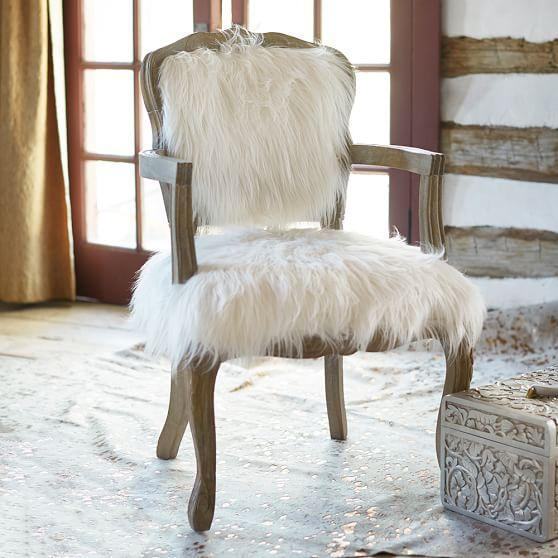 Khan Tibetan White Wool Chair