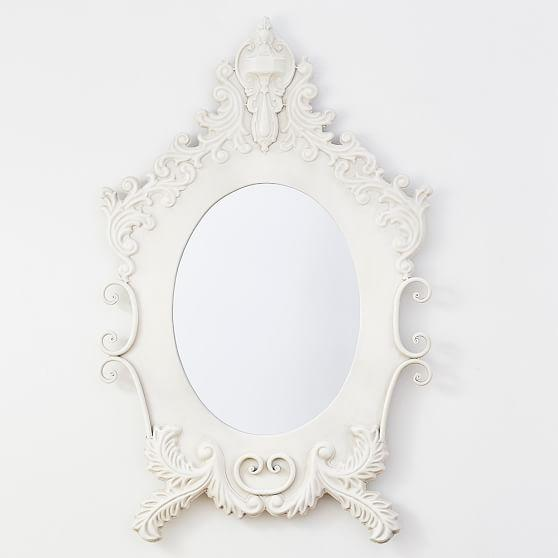 White Carved Antiqued Ornate Oval Mirror