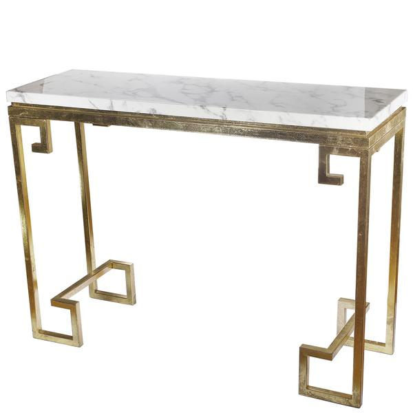 gold greek key white marble console table