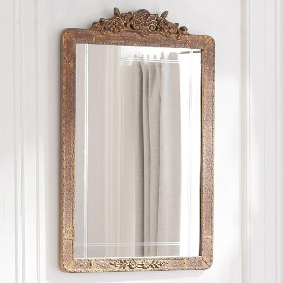 Rounded Edges Rectangle Antique Gold Mirror