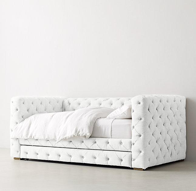 Gray Full Size Daybed : Gray velvet button tufted elton daybed