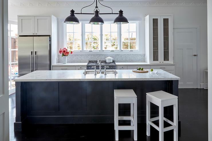 Dark Blue Center Island With White Quartz Countertop