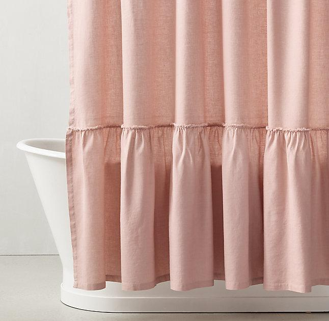 Gathered Ruffle Trim Pink Linen Shower Curtain