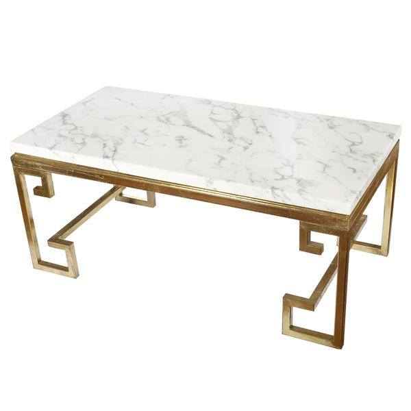White Marble Top Coffee Table Rectangle: White Greek Key Base Cocktail Table