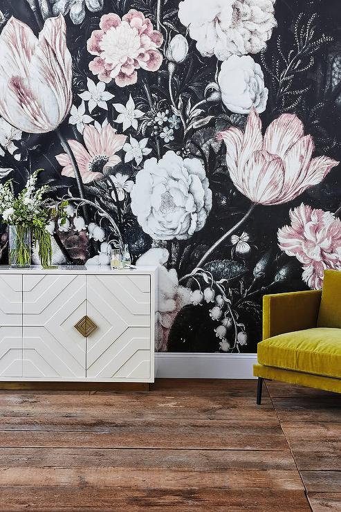 Gray and pink drawn motif floral wallpaper mightylinksfo